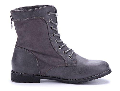 Schuhtempel24 Damen Schuhe Flache Stiefeletten Stiefel Boots Flach Reißverschluss 2 cm Grau
