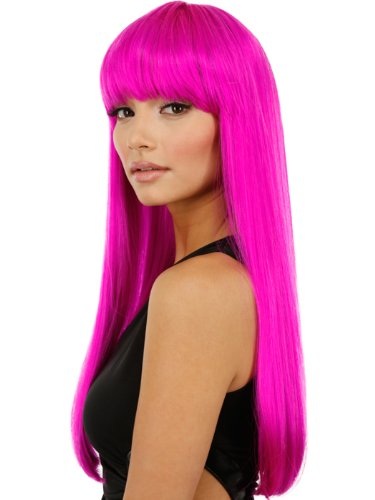 Hot Pink Long Straight Wig with Bangs