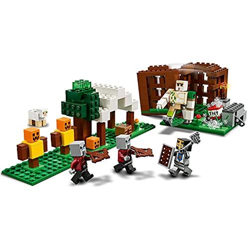 LEGO 21159 Minecraft The Pillager Outpost Juego de construcción de figuras de acción, juguete de aventura de Golem de hierro para niños de 7 años o más