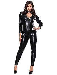 86b7aa7de Women Ladies Plus Size Bodysuit Faux Leather Catsuit Double Zipper Catsuit  Teddy Clubwear Jumpsuit