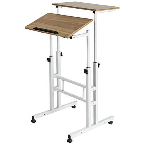 DOEWORKS Mobile Stand Up Desk Height Adjustable Computer Work Station Home Office Desk with Wheels,Vintage Oak