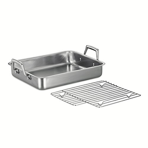 Tramontina 80203/003DS Gourmet Prima 13.5-Inch Rectangular Roasting Pan with Basting Grill, Small, Stainless Steel