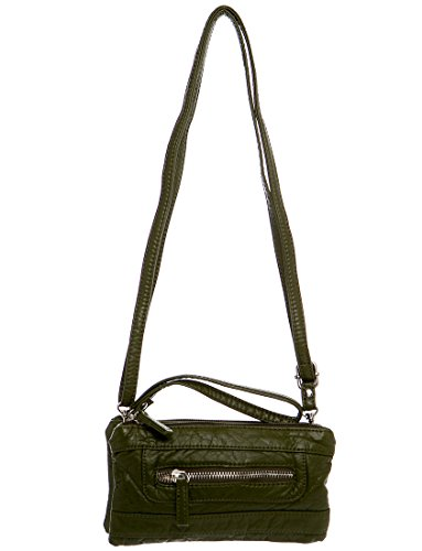 army-green-faux-leather-stonewashed-small-clutch-wristlet-or-crossbody-purse