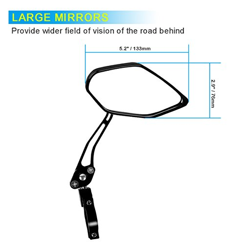 Bike Mirror, Veanic Universal Adjustable Rearview Handlebar Safety Glass Mirrors Lens for Mountain Road Cycling Bicycle Electric Bike - Pair by Veanic (Image #1)