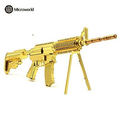 2016 Microworld 3D Metal Puzzle 21CM M4A8 Carbine Gun Weapon Building Model G001-G DIY 3D Laser Cut Assemble Jigsaw Toys - Gold