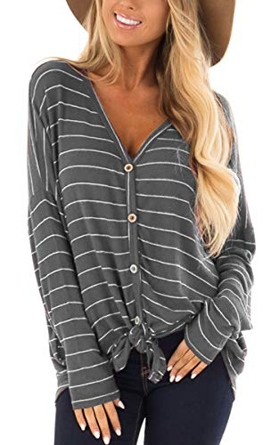 ECOWISH Womens V Neck Stripe Print Tie Front Knot Button Down Tunic Blouse Waffle Knit Casual Henley Shirt Tops 180Gray S -