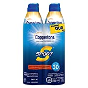 Coppertone Sport Sunscreen Spray SPF 30 Duo Pack, Lightweight and Water-Resistant UVA/UVB Protection, Stays On Strong…