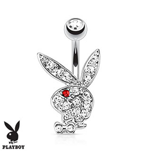 Multi Colored Gems on Playboy Bunny 316L Surgical Steel Navel Ring (Sold by (Dangling Playboy Navel Ring)