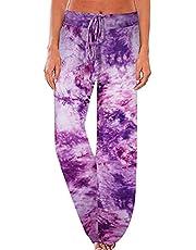 JINGCHENG Women's Comfy Stretch Floral Print High Waist Drawstring Palazzo Wide Leg Pants