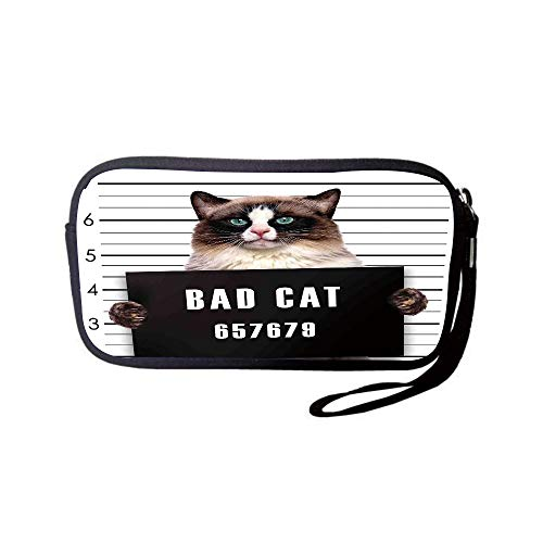 (Neoprene Wristlet Wallet Bag,Coin Pouch,Cat Lover Decor,Bad Gang Cat in Jail Kitty Under Arrest Criminal Prisoner Hangover Artsy Work,Brown Black White,for Women and Kids)