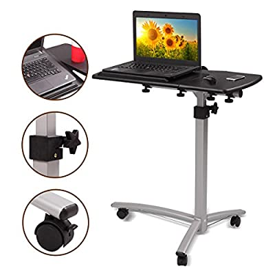 New MTN-G Adjustable Height&Angle Rolling Mobile Laptop Desk Cart Bed Hospital Table Stand