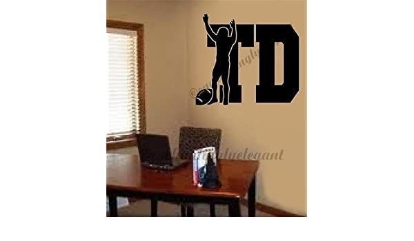 Touchdown TD Football Sports Vinyl Decal Wall Sticker Words Letters Den Office