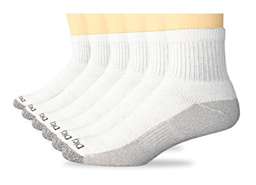 (Dickies Men's Multi-Pack Dri-Tech Moisture Control Quarter Socks, White (6, Shoe Size: 6-12 Size: 10-13))
