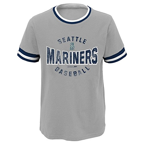 MLB Seattle Mariners Youth Boys 8-20 Ringer Short Sleeve Tee, Small (eight), Heather Grey – DiZiSports Store