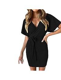 Palalibin Party Bandage Dress,Womens V Neck Wrap Mini Ladies Bodycon Evening Cocktail