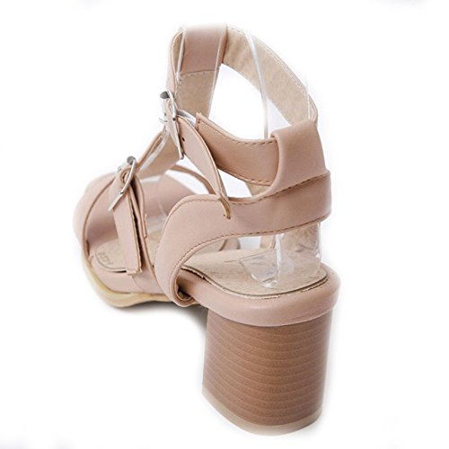 SJJH Roman Sandals with Low Chunky Heel and Comfortable Leisure Shoes All Match Sandals for Travel Beige beSlnz