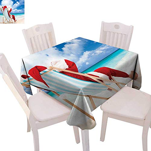 cobeDecor Santa Patterned Tablecloth Santa on a Chair Near The Sea Exotic Beach Relaxing Summer Vacation Resting Dust-Proof Tablecloth 36