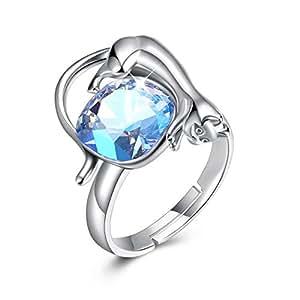 Daesar Anillo de Plata de Ley Mujer Anillo Gato Cristal Anillos Mujer Circonita Anillo Azul: Amazon.es: Joyería