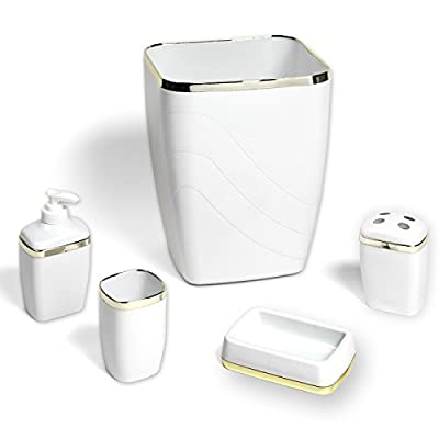 Sweet Home Collection 5 Piece Bath Bathroom Accessory Set Wastebasket, Lotion Pump, Toothbrush Holder, Tumbler, Soap Dish White - Set Includes: Waste Basket (10 x 8.5 x 7) Lotion/Soap Pump (4 x 3 x 3) Toothbrush Holder (4 x 3 x 3) Tumbler (4 x 2.5 x 2.5) Soap Dish (5 x 3 x 1.5) Each piece is solid in color with a wave pattern and golden trim No need to worry about piecing a set together, this set comes with everything you need to update your bathroom decor - bathroom-accessory-sets, bathroom-accessories, bathroom - 41jgxiIfdvL. SS400  -
