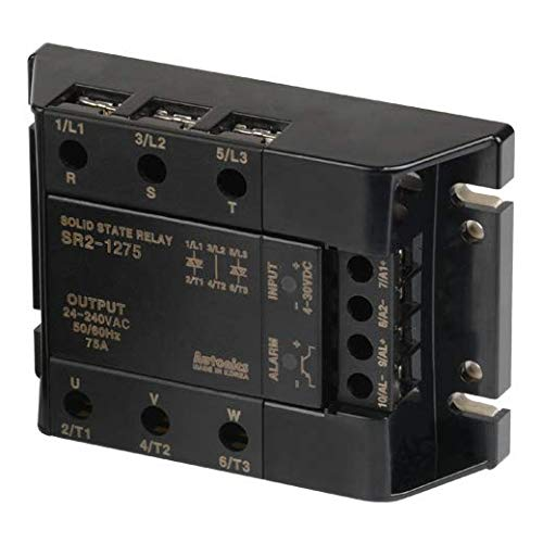Autonics SR2-1275 SSR, Detachable Heatsink Type, 3-Phase(2-Pole), Input 4-30VDC, Load 24-240VAC, 75A, Zero Cross Turn-On