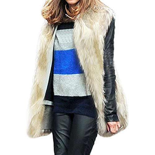 PASATO 2018 Women Faux Fur Ladies Sleeveless Vest Waistcoat Jacket Gilet Shrug Coat Outwear Overcoat(White,S=US:XS)