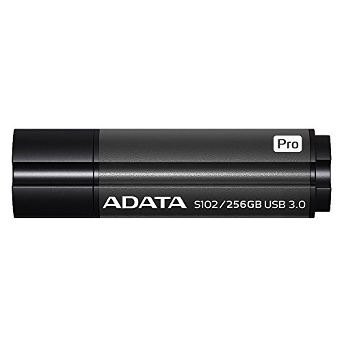 ADATA S102 Pro 256GB USB 3.0 Ultra Fast Speed up to 200 MB/s Read & 120 MB/s Write Flash Drive, Grey (AS102P-256G-RGY) by ADATA