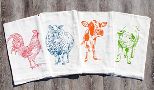 Tea Towels Set of 4-100% Cotton Flour Sack - 26