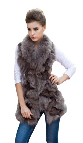 - Queenshiny Long Women's 100% Real Fox Fur and Sheep Skin Vest with Fox Collar-Gray-L(12-14)