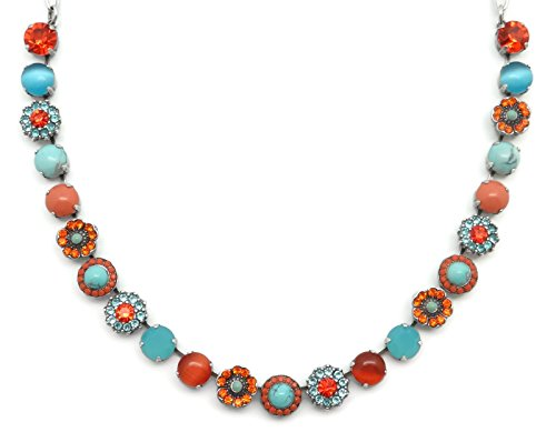 Mariana Swarovski Crystal Silver Plated Necklace Aqua Orange Floral Mosaic M1079 Serengetti by Mariana