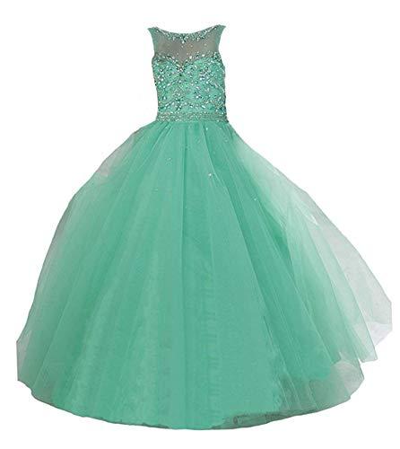 (Wenli Girls' Sheer Neck Beaded Rhinestones Pageant Dresses 12 US Mint )