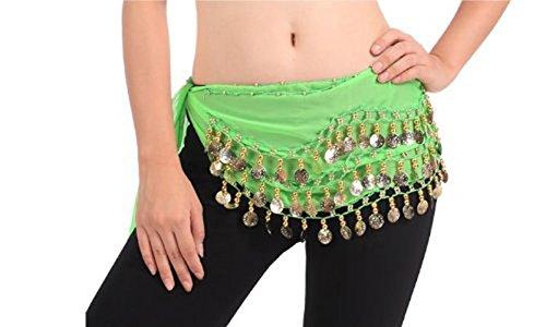 Kooyu Women Chiffon Belly Dancing Hip Scarf Wrap Belt Dangling 3 Rows Gold Coins (Green)