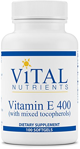 Vital Nutrients Vitamin E 400 (with Mixed Tocopherols) Potent Antioxidant, Cardiovascular Support 100 Softgels
