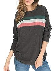 Scarmat Women's Casual Pullover Tunic Tops Crewneck Long Sleeve Loose Sweatshirt