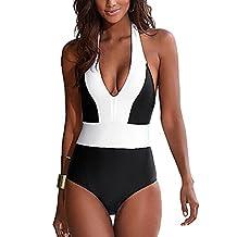 Lukitty Women's One Piece Push Up Halter Bikini Monokini Bathing Suit Swimsuit