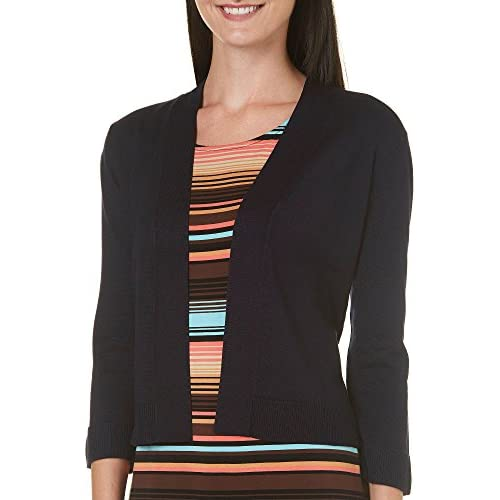 89th & Madison Womens Open Front Ribbed Trim Shrug Large Navy blue