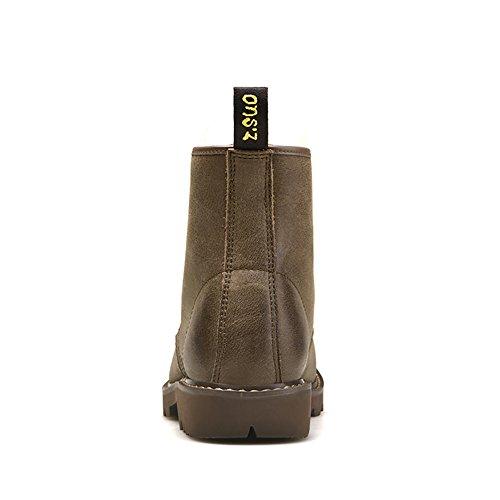 ICEGREY Herren Leder Mid Kurzschaft Stiefel Chukka Winter Boots Stiefeletten Khaki EU 39