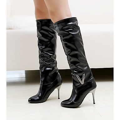 Leather Winter Rhinestone For High Thigh EU39 Stiletto Toe CN39 Women'S Round Fashion Boots Shoes Boots Casual US8 Nubuck Heel RTRY Leatherette UK6 Fall Boots YtqwUZ