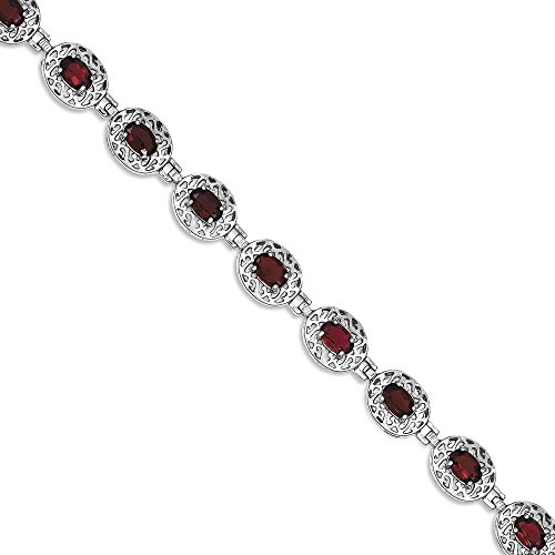 ICE CARATS 925 Sterling Silver Red Garnet Filigree Bracelet 7 Inch Gemstone Fine Jewelry Gift Set For Women Heart by ICE CARATS (Image #1)