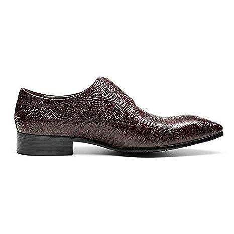 QWE Hombres Impresión Hebilla Simple Zapatos de Monje Piel de ...