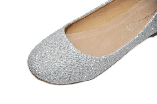 Silberne Glitter funkelnde Ballette Hochzeits Abend Ballerinen UU7Wn8q1T