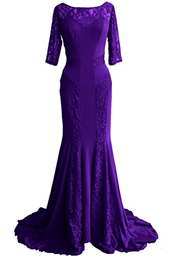 MACloth Women Mermaid Half Sleeve Lace Mother of Bride Dress Formal Evening Gown Violett MqrxqZjHmL