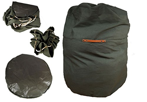 Militär Packsack mit Gummiboden grün gebraucht Segeltuch Aufbewahrungssack fLixlSM