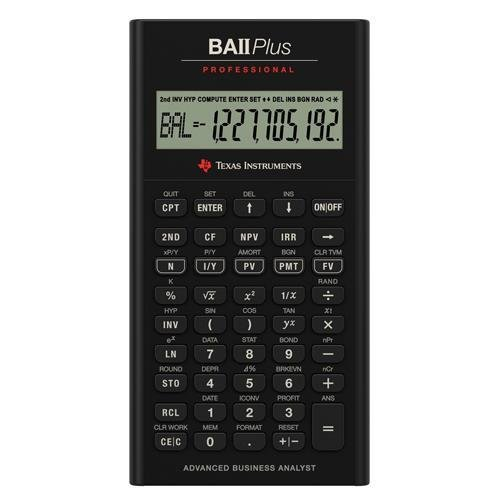Texas Instruments TI BA II Plus Professional Financial Calculator - 10 Character(s) - LCD - Battery Powered IIBAPRO/CLM/4L1/A by Texas Instruments