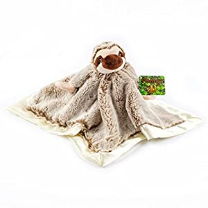 "Stuffed Sloth Lovey Soother Plush Security Blanket 12""x12"", Slothey"