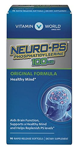 Vitamin World Neuro-PS PhosPhatidylserine 100mg Original Formula Aids Brain Function Supports a Healthy Mind and Helps Replenish PS Levels 90 softgels