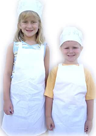 Kids white chef apron and hat set child size for Child size kitchen sets