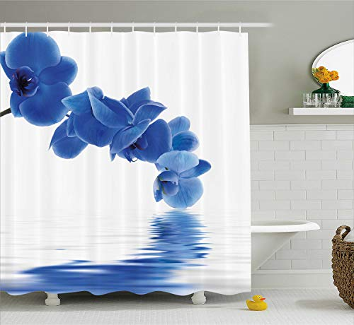 Ambesonne Blue Shower Curtain, Orchid Corsage Composition with Reflection in Water Zen Decor Bridal Garden, Fabric Bathroom Decor Set with Hooks, 70 Inches, Violet Blue White