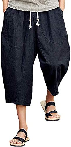 Details about Mens Work Casual Linen Shorts Drawstring Half Pants Summer Plus Size Fashion