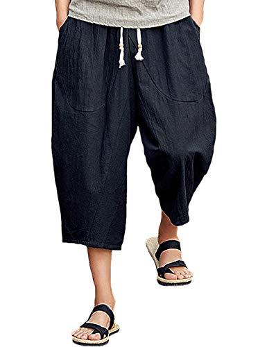 (Rexcyril Men's Baggy Linen Capri Pants, Casual Loose Drawstring Harem Yoga Long Shorts with Pockets Black)