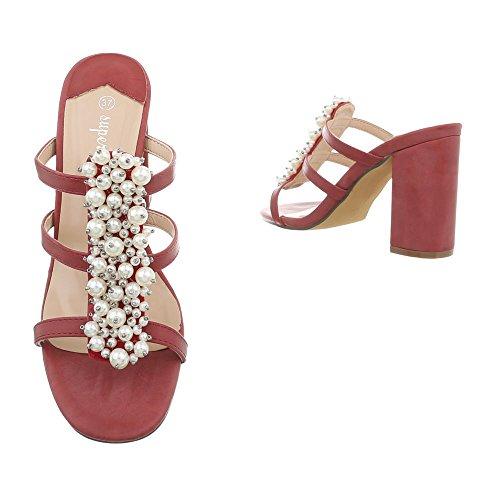 Bourgogne Chaussures Sandales Heel Femme Mules Design Kitten Ital Xw0t5nxPqE